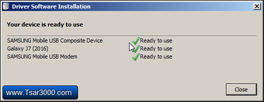 Installing Samsung Device Drivers Finished