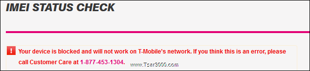 T-Mobile USA IMEI Blacklisted