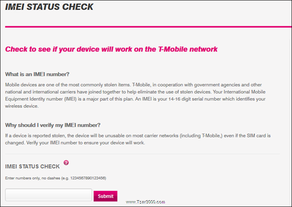 T-Mobile USA IMEI Check Service