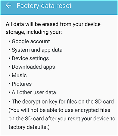 Samsung Factory Data Reset Details