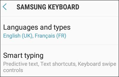 Samsung Smart Typing Option